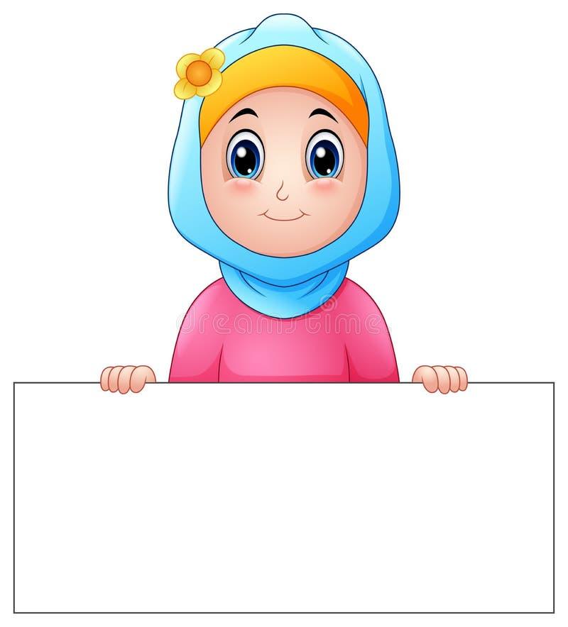 Szczęśliwa muzułmańska dziewczyna jest ubranym błękitnego przesłony mienia pustego miejsca znaka ilustracja wektor