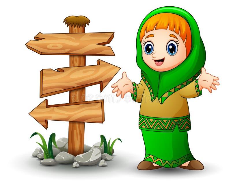 Szczęśliwa Muzułmańska dziewczyna przedstawia z pustym drewnianym strzała znakiem ilustracja wektor