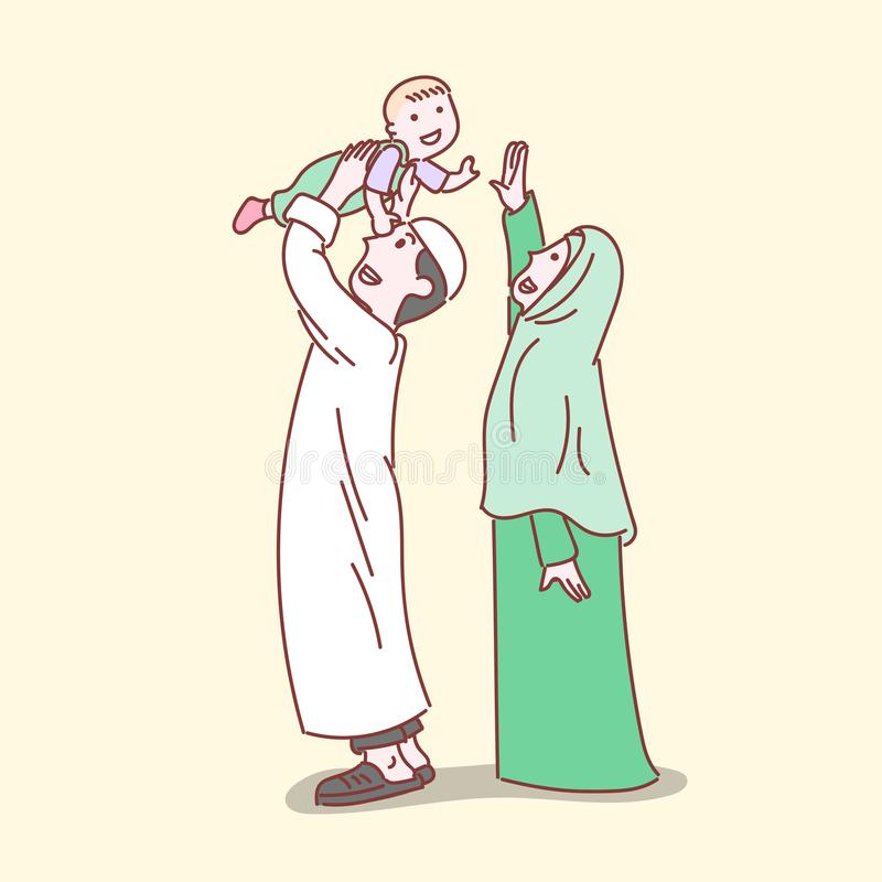 Szczęśliwa Muzułmańska rodzina, prosta kreskowa kreskówki ilustracja ilustracji