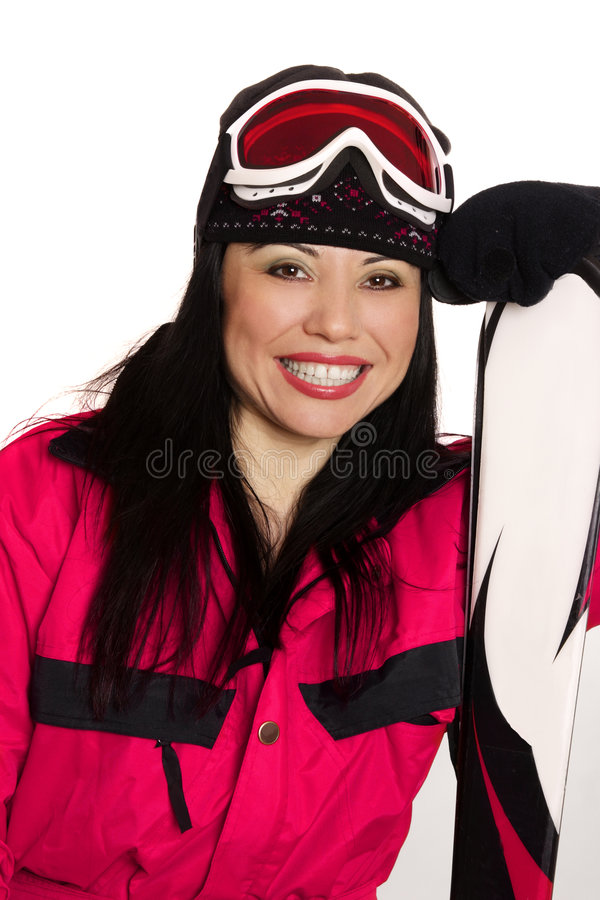 szczęśliwa na nartach dziewczyny obraz royalty free