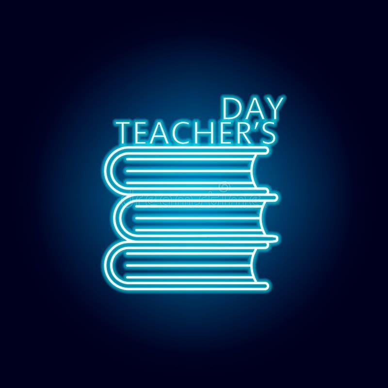 szczęśliwa nauczyciela dnia ikona w błękitnym neonowym stylu Edukacja symbolu znaka piktogram ilustracji