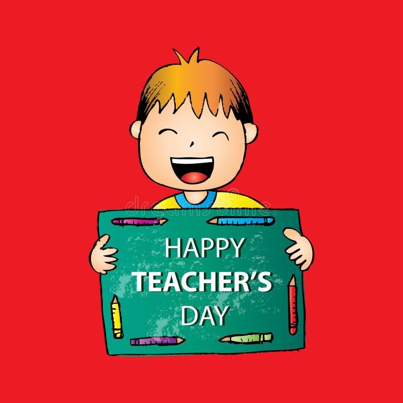 Szczęśliwa nauczyciela dnia karta royalty ilustracja