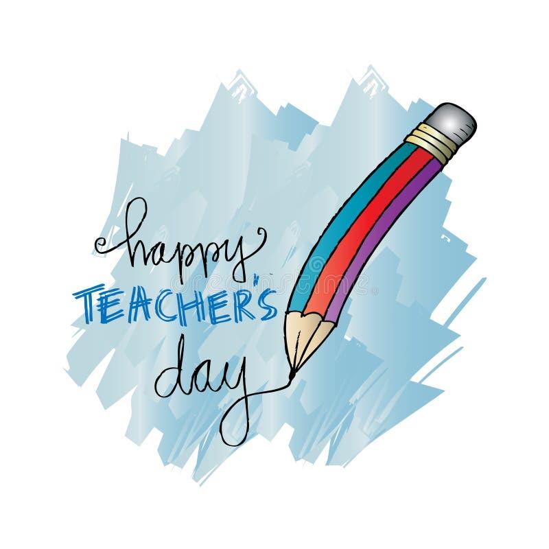 Szczęśliwa nauczyciela dnia karta ilustracja wektor