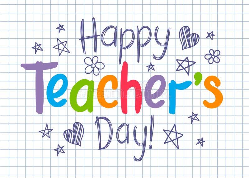 Szczęśliwa nauczyciela dnia kartka z pozdrowieniami na ciosowym copybook prześcieradle w szkicowym stylu ilustracja wektor