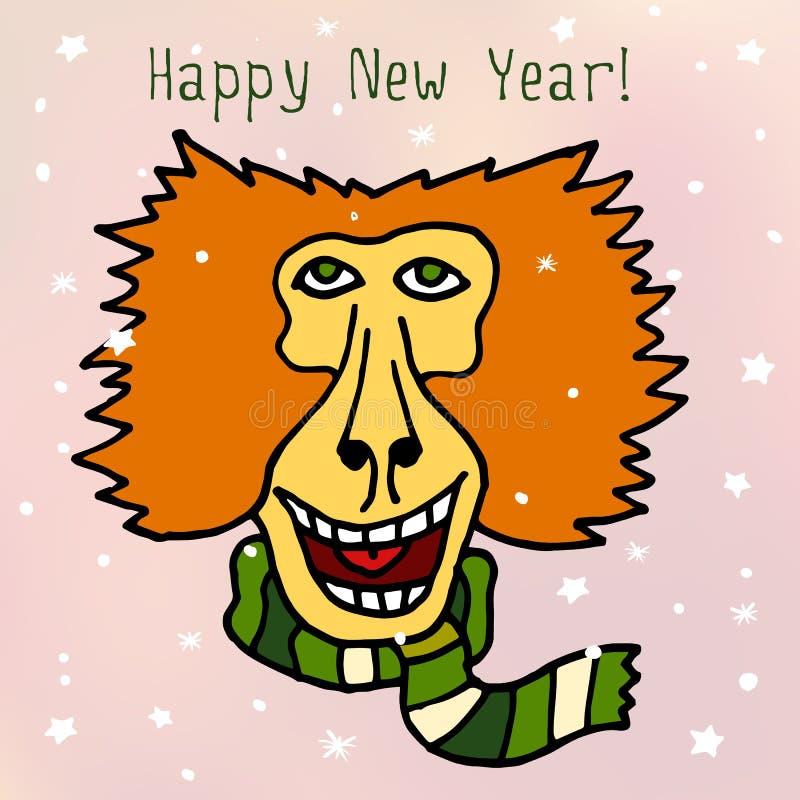 Szczęśliwa Nowa 2016 rok wektorowa pocztówka z pawian małpą w szaliku ilustracja wektor