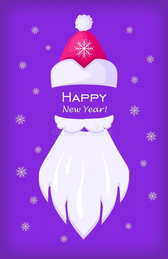 Szczęśliwa nowego roku Święty Mikołaj nakrętka i Biała broda royalty ilustracja