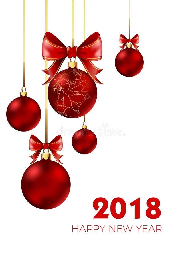 Szczęśliwa nowego roku 2018 bożych narodzeń piłka i łęk dekoraci wektoru czerwony tło royalty ilustracja