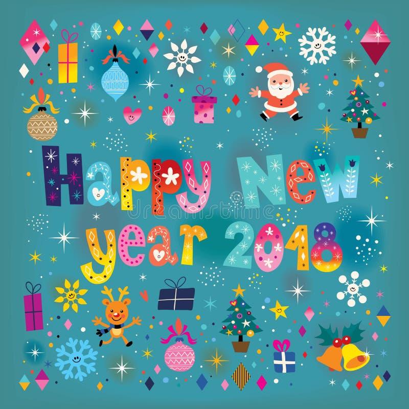 Szczęśliwa nowego roku 2018 karta royalty ilustracja