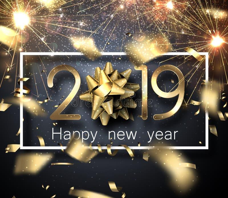 Szczęśliwa nowego roku 2019 karta z sparklers, łękiem i zamazujący złotym, royalty ilustracja