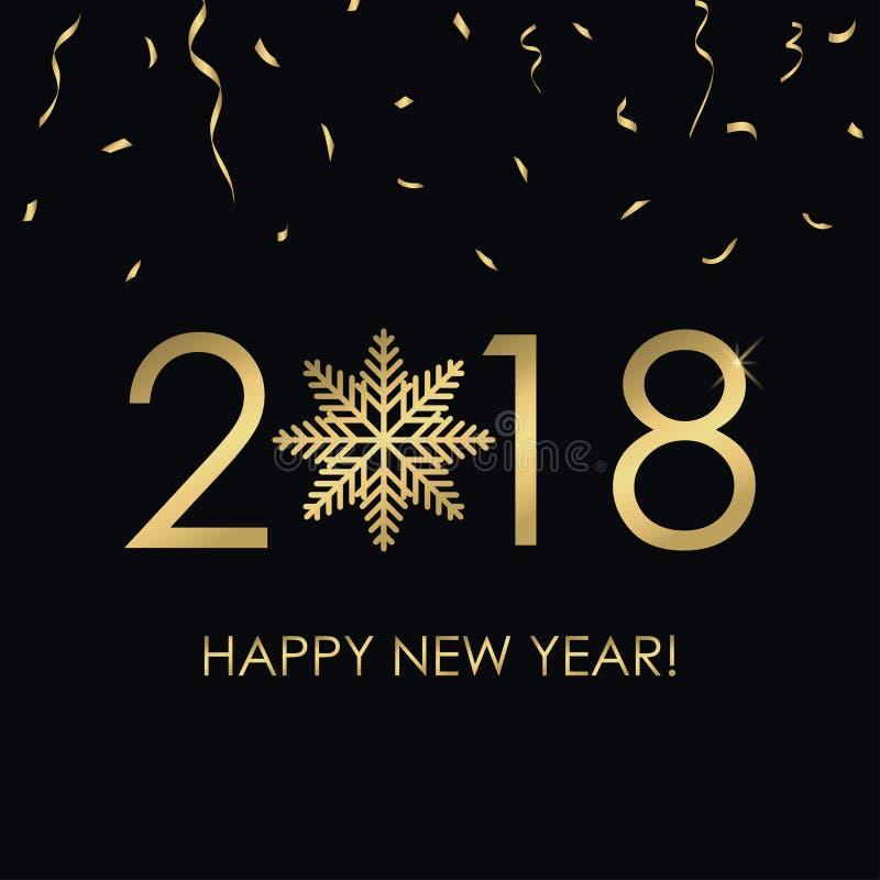 Szczęśliwa nowego roku 2018 karta z złoto liczbami i płatkiem śniegu, złoci confetti Wakacyjny plakat, sztandar wektor royalty ilustracja