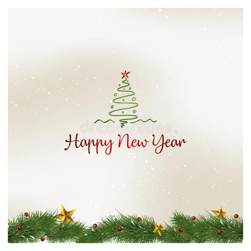 Szczęśliwa nowego roku kartka z pozdrowieniami wektoru ilustracja ilustracja wektor