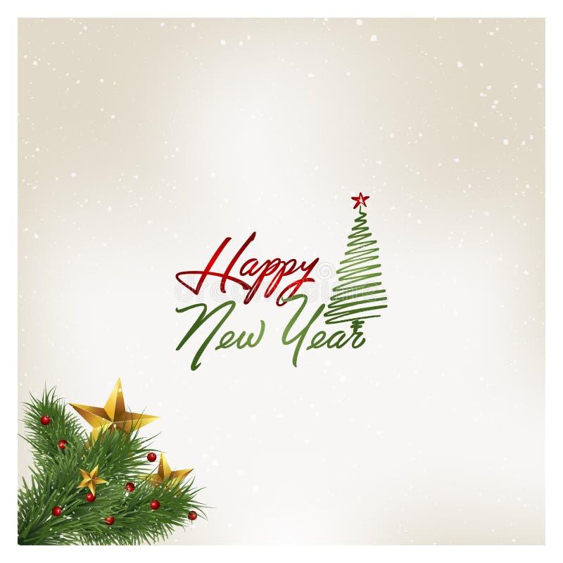 Szczęśliwa nowego roku kartka z pozdrowieniami wektoru ilustracja ilustracji