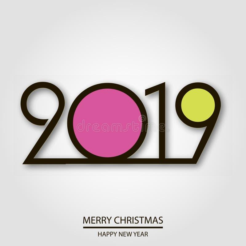 Szczęśliwa nowego roku lub bożych narodzeń kartka z pozdrowieniami z kreatywnie tekstem wektor ilustracja wektor