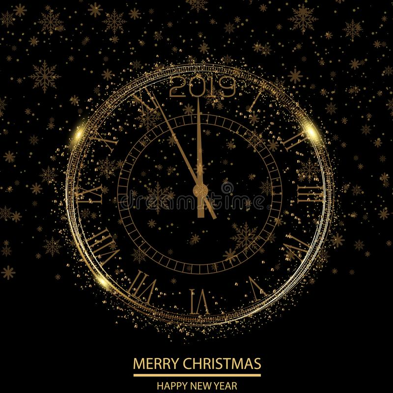 Szczęśliwa nowego roku lub bożych narodzeń kartka z pozdrowieniami z złoto zegarem wektor ilustracja wektor