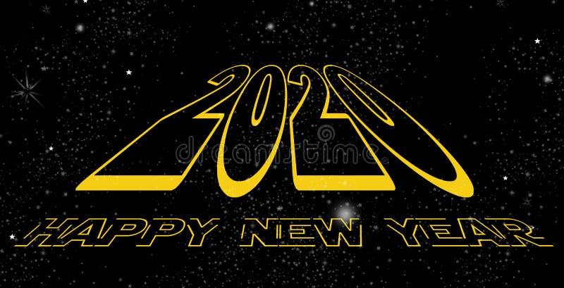 Szczęśliwa nowego roku 2020 przestrzeń ilustracja wektor