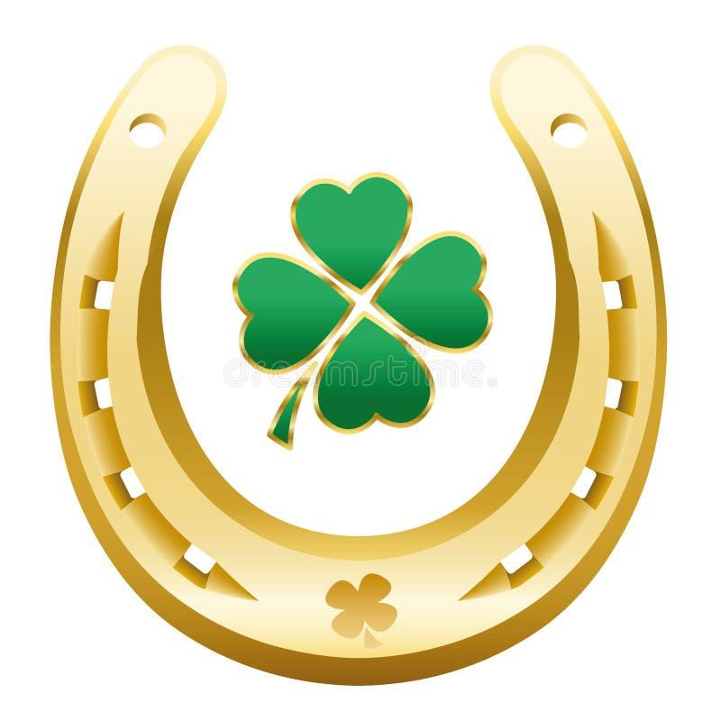 Szczęśliwa nowego roku symbolu Cztery liścia koniczyny podkowa royalty ilustracja