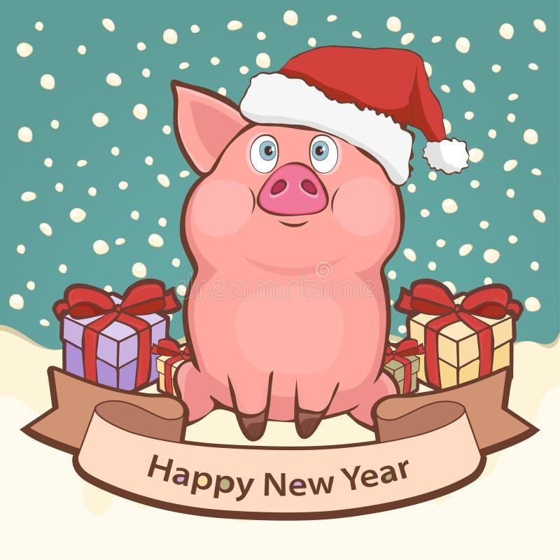 Szczęśliwa nowy rok karta, plakat, sztandar z śliczną śmieszną świnią w Santa prezenta i kapeluszu pudełkach wśród spada śniegu,  royalty ilustracja