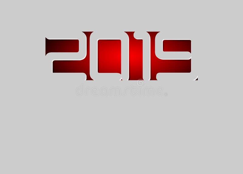 Szczęśliwa 2019 nowy rok karta w papieru stylu dla twój wakacje ulotek, powitania i zaproszenie karty o temacie sezonowi, boże na ilustracja wektor