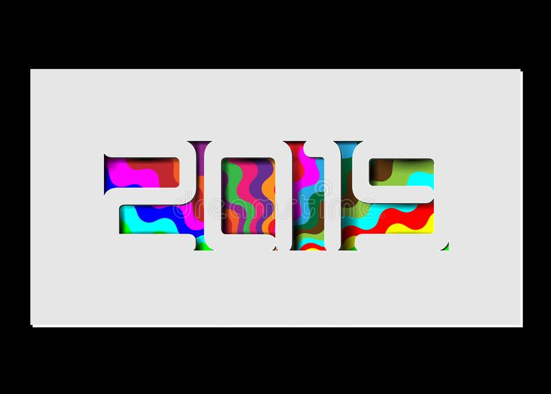 Szczęśliwa 2019 nowy rok karta w papieru stylu dla twój wakacje ulotek, powitania i zaproszenie karty o temacie sezonowi, boże na royalty ilustracja