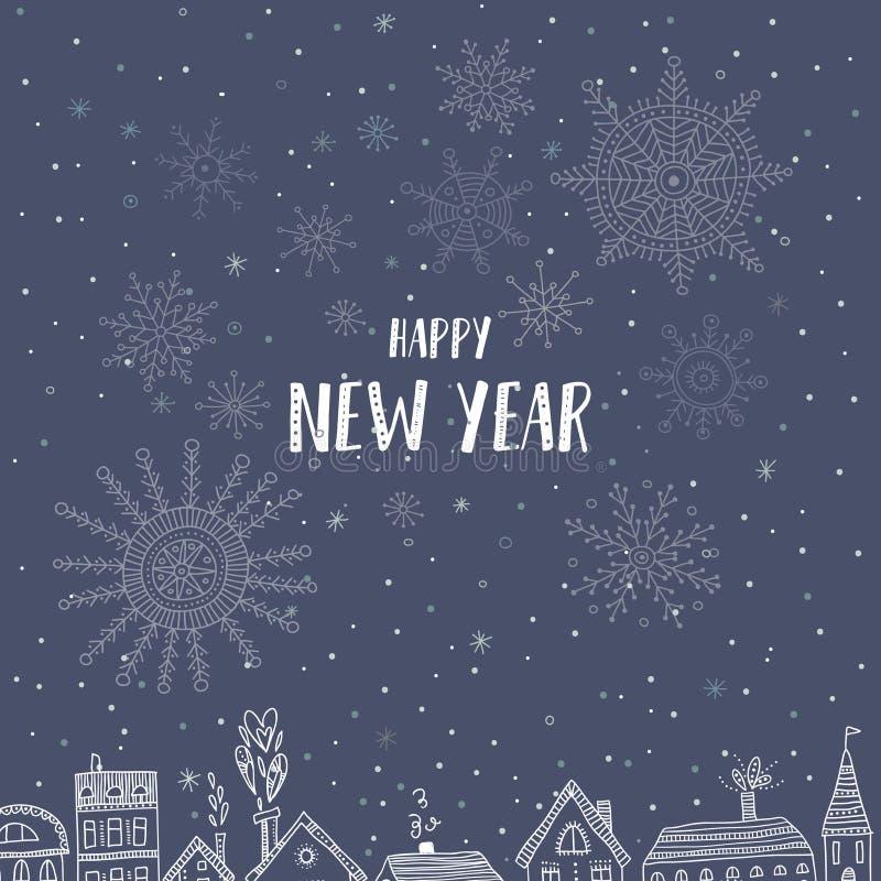 Szczęśliwa nowy rok karta z domami w mieście ilustracji