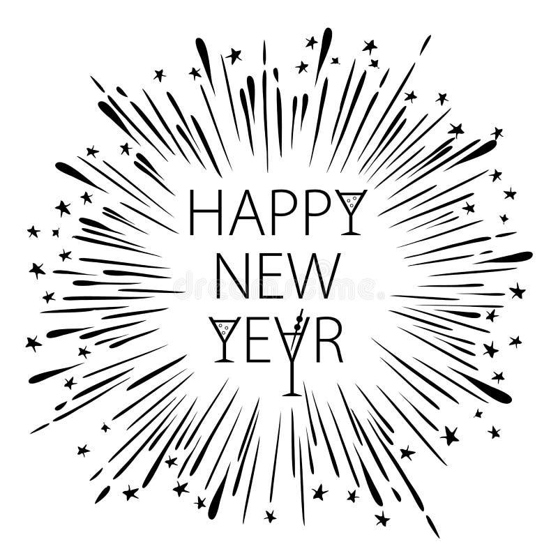 Szczęśliwa nowy rok karta z Starburst płatka śniegu wineglass szampańską Wektorową ilustracją ilustracji