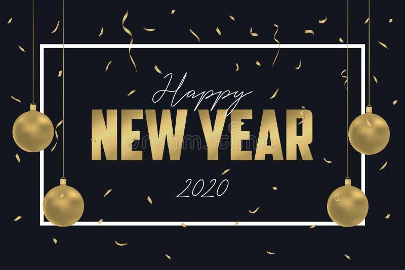 Szczęśliwa nowy rok kartka z pozdrowieniami dla 2020 rok Projektuje dla wakacje sztandaru z złocistymi Bożenarodzeniowymi piłkami royalty ilustracja