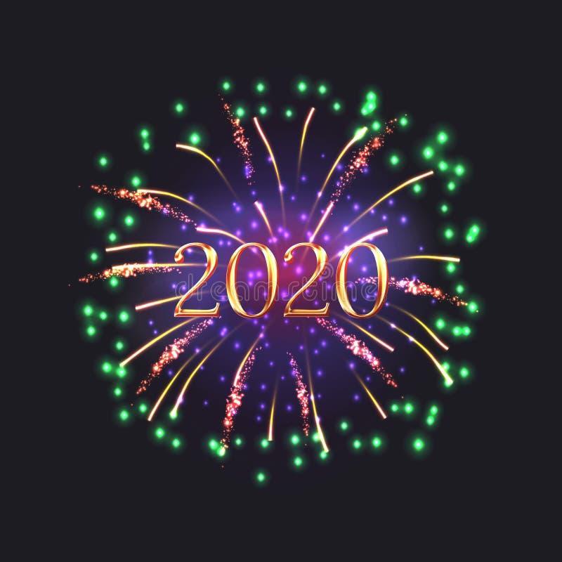 Szczęśliwa nowy rok 2020 kartka z pozdrowieniami z fajerwerkami royalty ilustracja