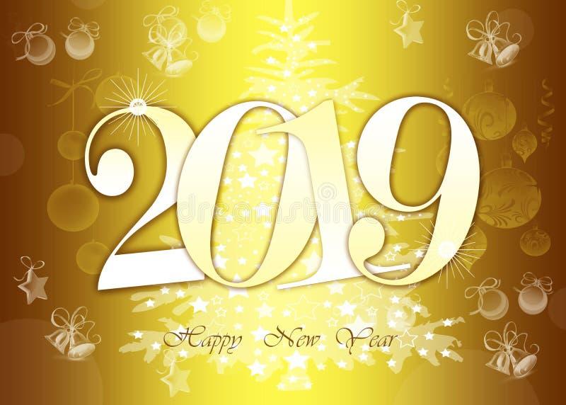 Szczęśliwa nowy rok 2019 kartka z pozdrowieniami - Złote Błyszczące liczby na żółtym tle obraz royalty free