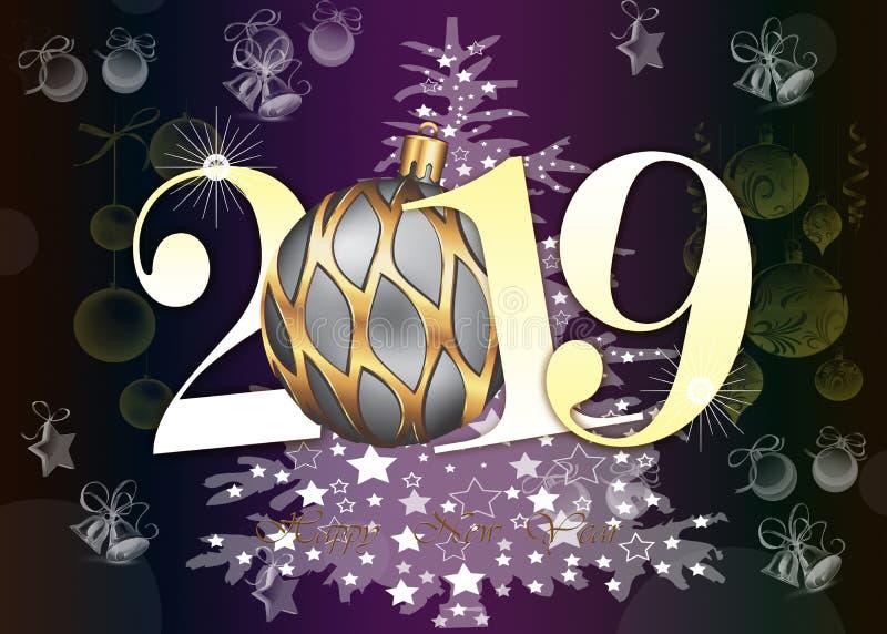 Szczęśliwa nowy rok 2019 kartka z pozdrowieniami - Złote Błyszczące liczby na fiołkowym tle obrazy stock
