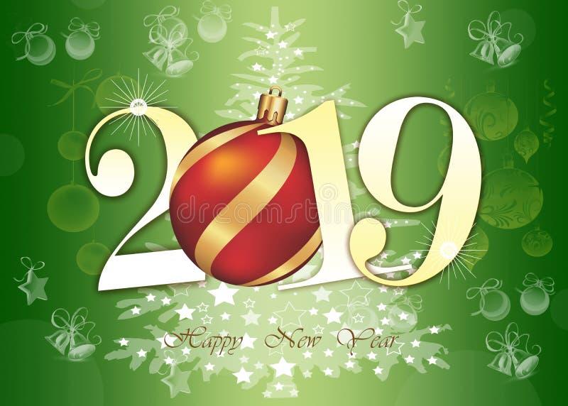 Szczęśliwa nowy rok 2019 kartka z pozdrowieniami - Złote Błyszczące liczby na zielonym tle zdjęcia royalty free