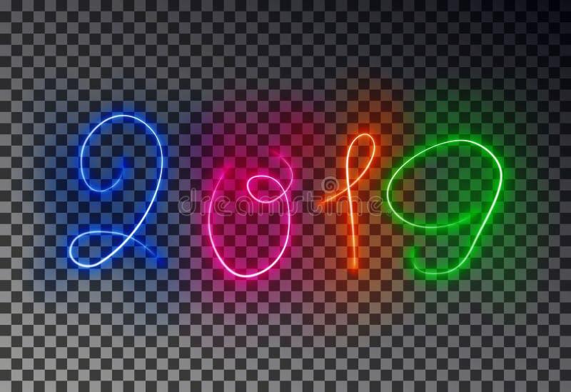 Szczęśliwa 2019 nowy rok lekka linia Rozjarzony magiczny koloru skutek odizolowywający na przejrzystym tle Vecto ilustracja wektor