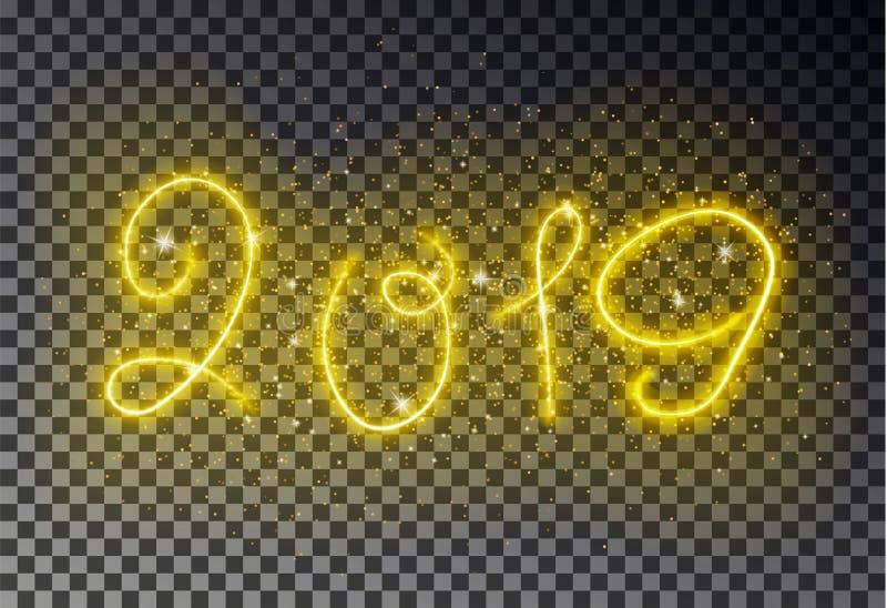Szczęśliwa 2019 nowy rok lekka linia z błyskotanie pyłu koloru Rozjarzonym magicznym żółtym skutkiem odizolowywającym na tranie ilustracja wektor