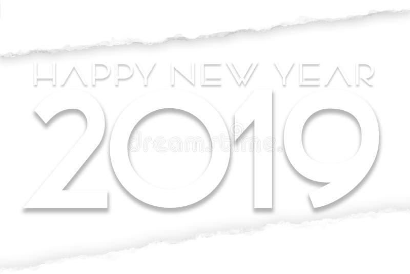 Szczęśliwa nowy rok 2019 sztuka ilustracja wektor