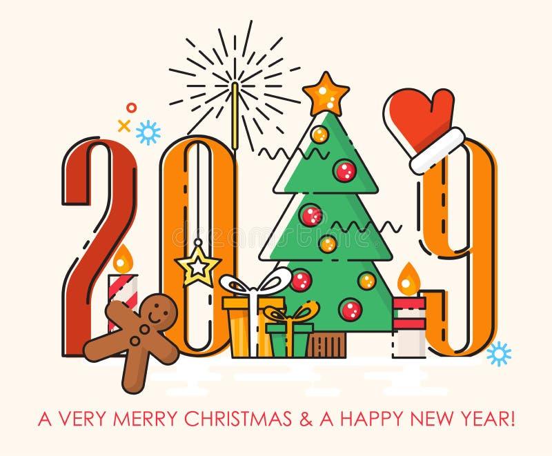 Szczęśliwa 2019 nowy rok wektorowa ilustracja w nowożytnym kreskowej sztuki stylu ilustracja wektor