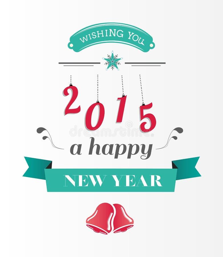 Szczęśliwa nowy rok wiadomość w błękicie i czerwieni royalty ilustracja