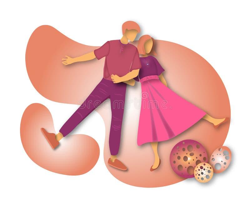 Szczęśliwa odprowadzenie para na białym tle Mężczyzna i kobieta Wektorowa ilustracja w płaskim stylu royalty ilustracja