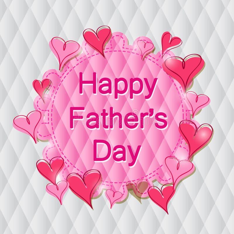 Szczęśliwa ojca dnia etykietka w Różowym sercu royalty ilustracja