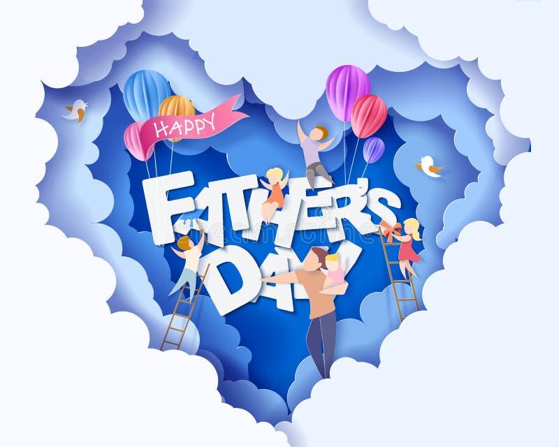Szczęśliwa ojca dnia karta papieru cięcia styl royalty ilustracja