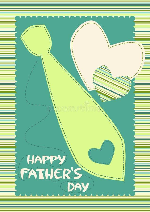 Szczęśliwa ojca dnia karta z krawatem royalty ilustracja