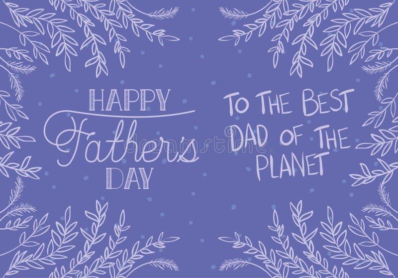 Szczęśliwa ojca dnia karta z liść dekoracją ilustracja wektor
