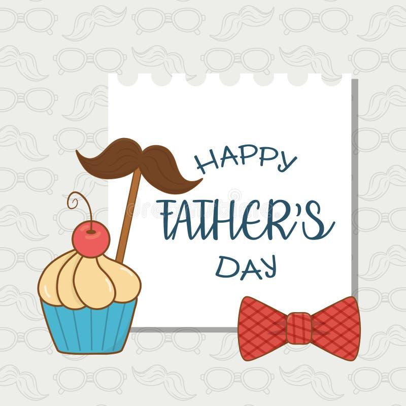 Szczęśliwa ojca dnia karta z wąsy i babeczką royalty ilustracja