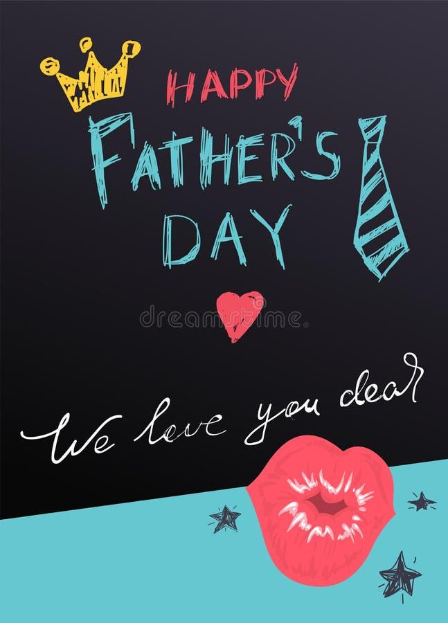 Szcz??liwa ojca dnia literowania teksta kartka z pozdrowieniami Korona, krawat i kierowy buziak, royalty ilustracja