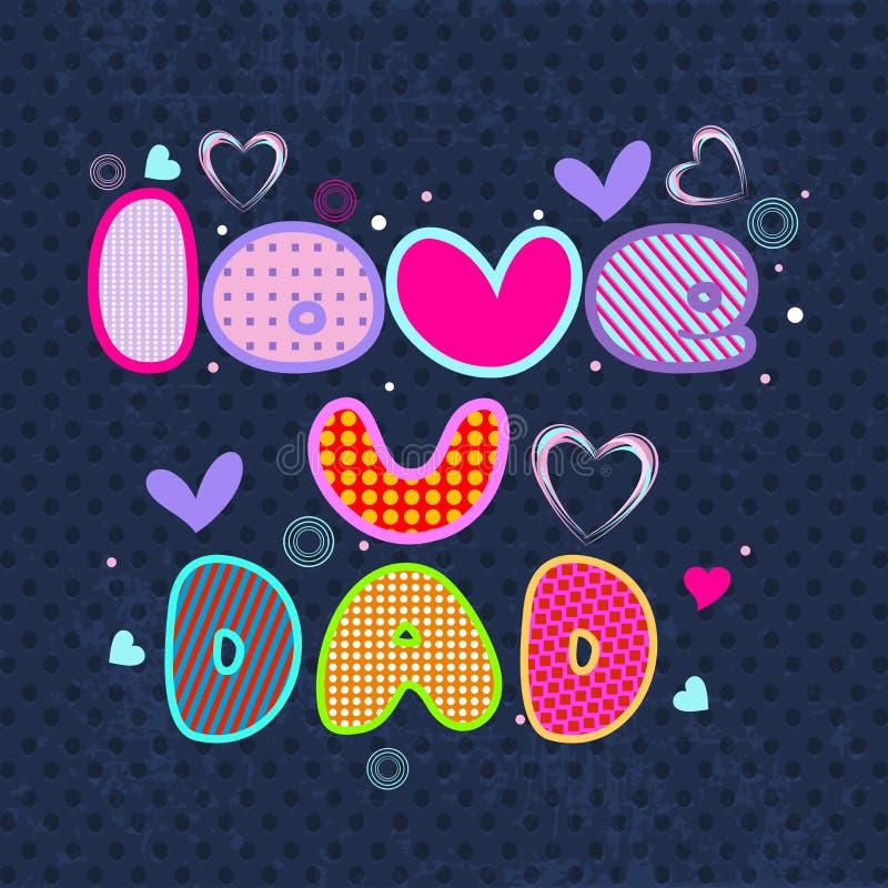 Szczęśliwa ojca dnia ulotka, sztandar lub plakat z kolorowym teksta lov, ilustracja wektor