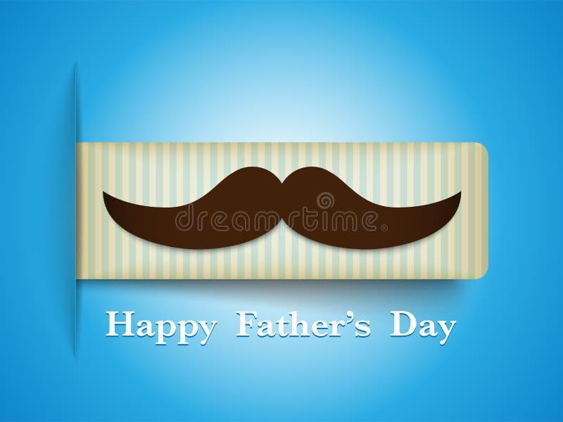 Szczęśliwa ojca dnia wąsy etykietka ilustracja wektor