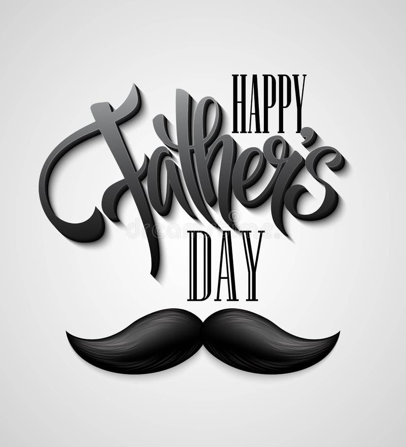 Szczęśliwa ojca dnia wąsy karta ilustracji