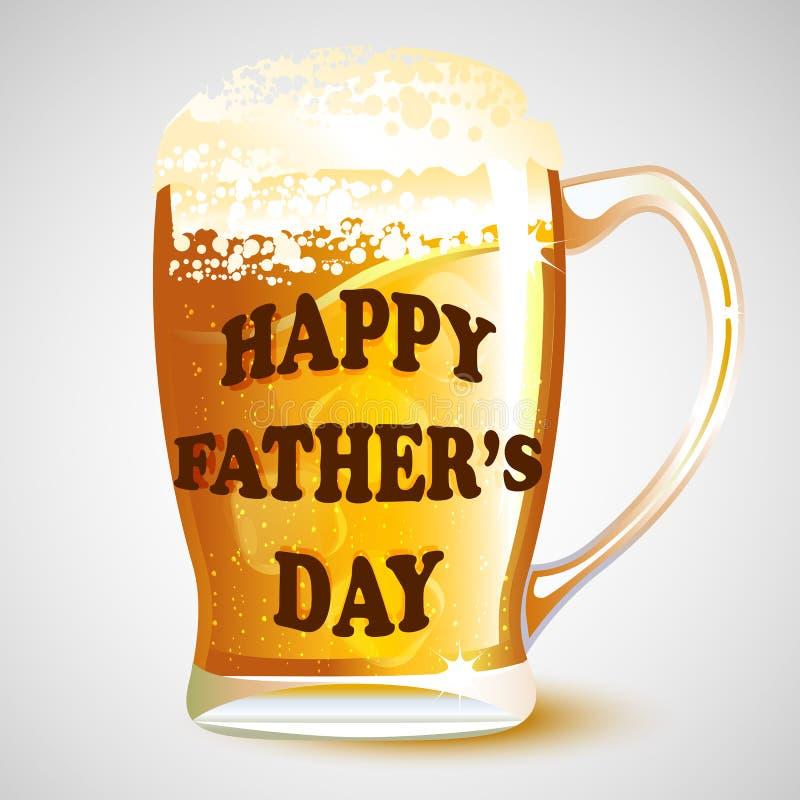 Szczęśliwa ojca dnia wiadomość na Piwnym kubku ilustracji