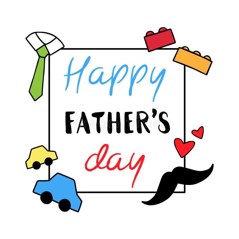 Szczęśliwa ojca ` s dnia zabawki karta royalty ilustracja