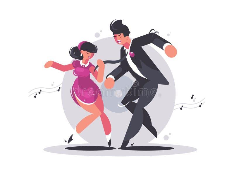 Szczęśliwa para faceta i dziewczyny taniec ilustracja wektor