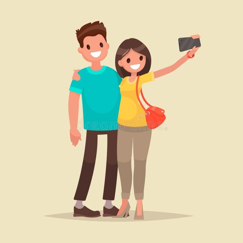 Szczęśliwa para jest wp8lywy selfie Mężczyzna i kobieta fotografujemy wpólnie również zwrócić corel ilustracji wektora ilustracja wektor
