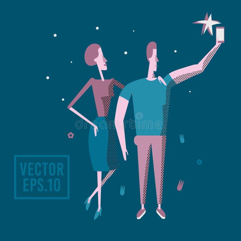Szczęśliwa para jest wp8lywy selfie Mężczyzna i kobieta jesteśmy fotografującym tog ilustracji
